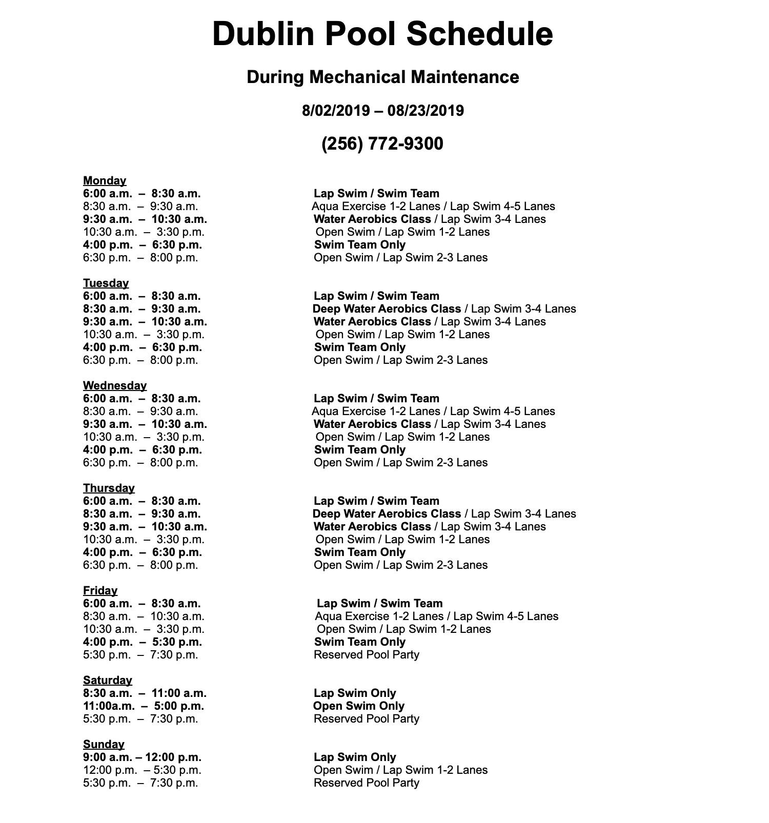 Maintenance Pool Schedule